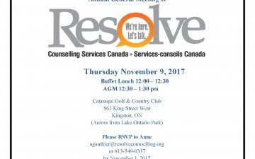 Annual General Meeting of Resolve Counselling Services Canada
