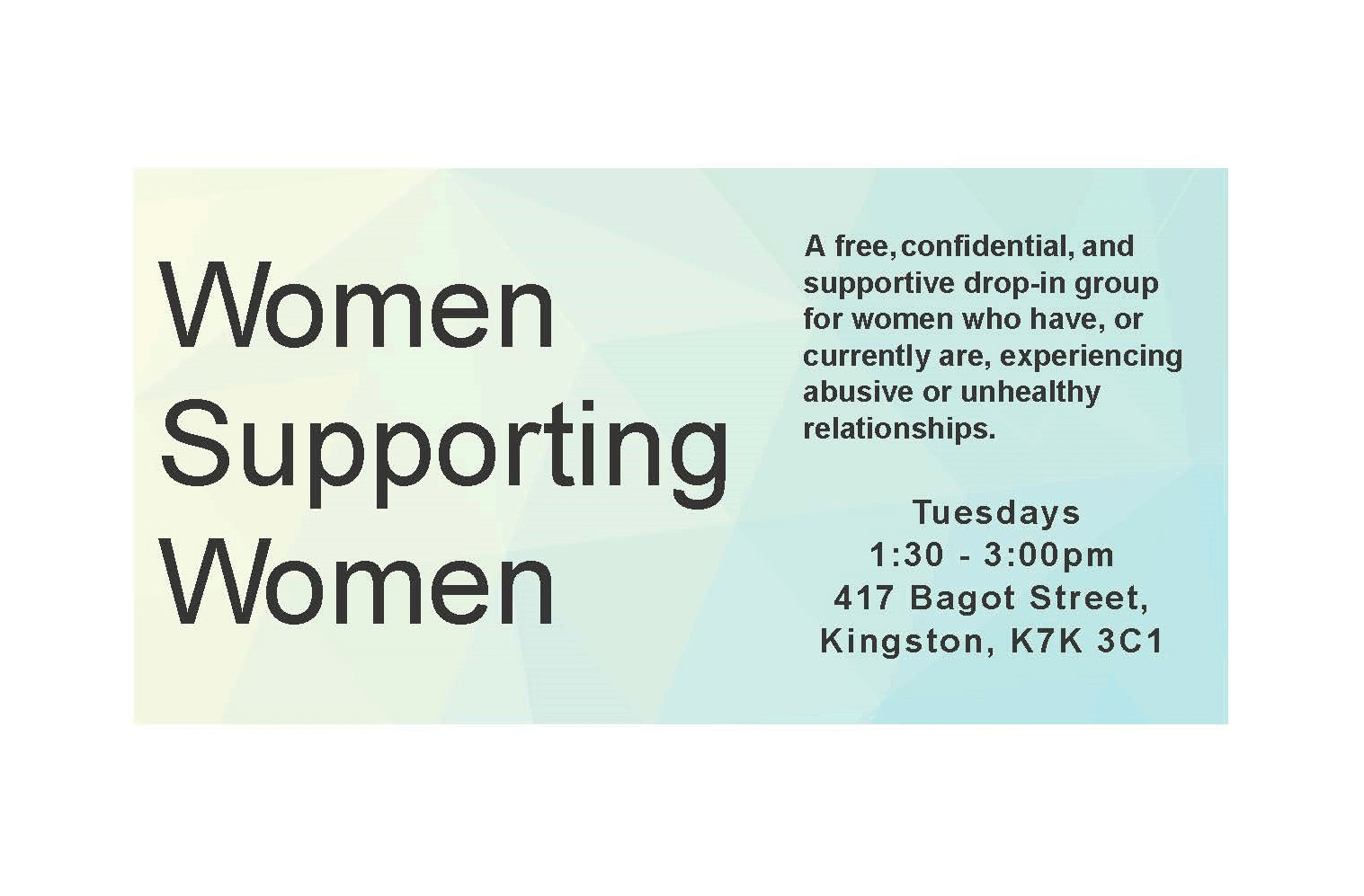 Download our current Women Supporting Women monthly schedule