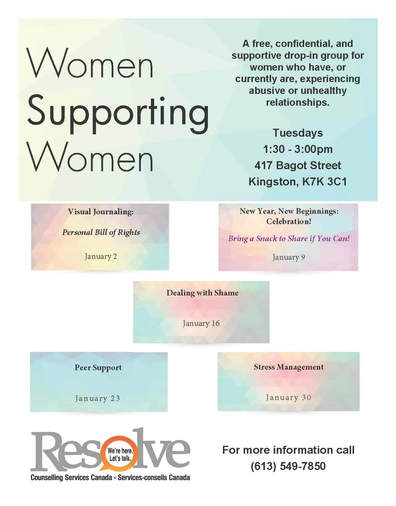 Women Supporting Women Download our current Women Supporting Women monthly schedule -January