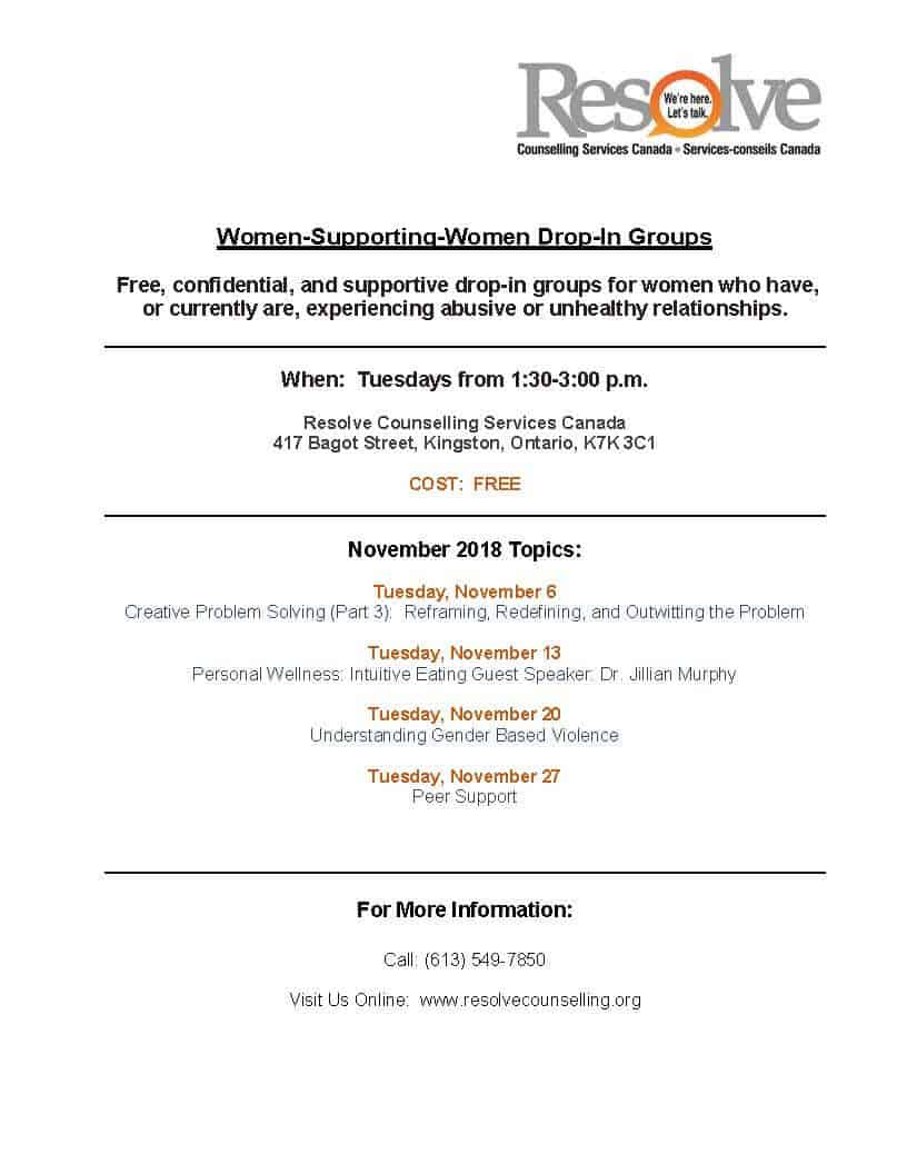 Women Supporting Women monthly schedule - November