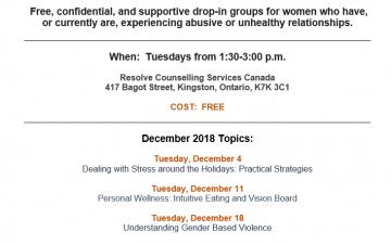 Women Supporting Women monthly schedule – December