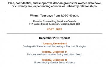 Women Supporting Women monthly schedule – December