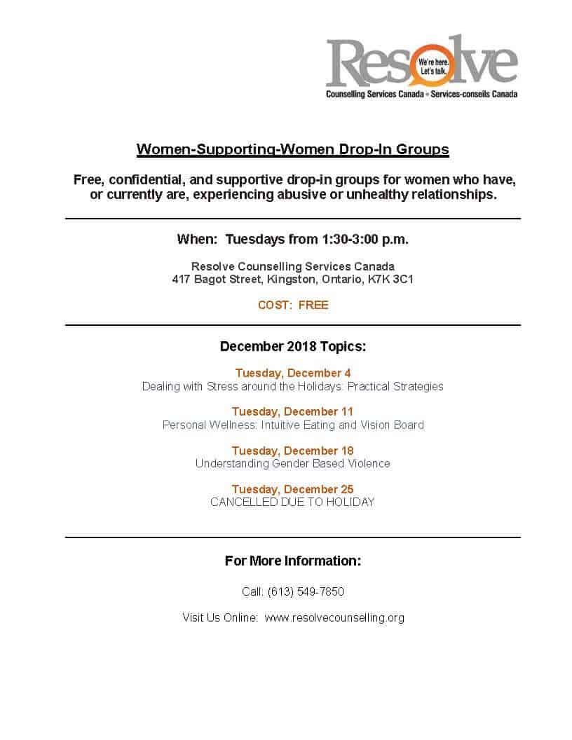 Women Supporting Women monthly schedule - December