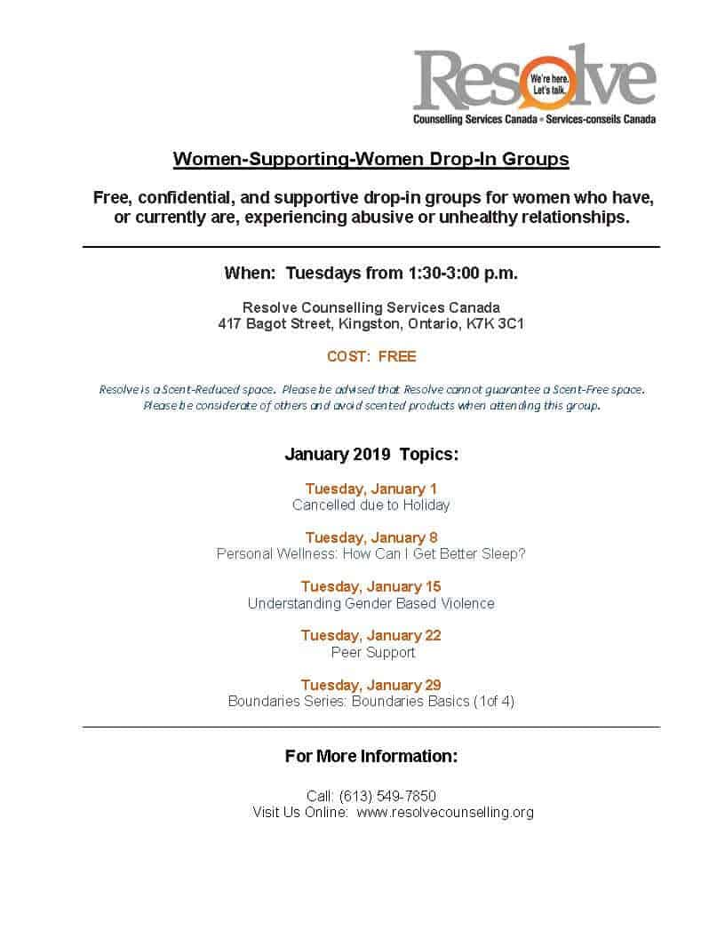 Women Supporting Women monthly schedule – January