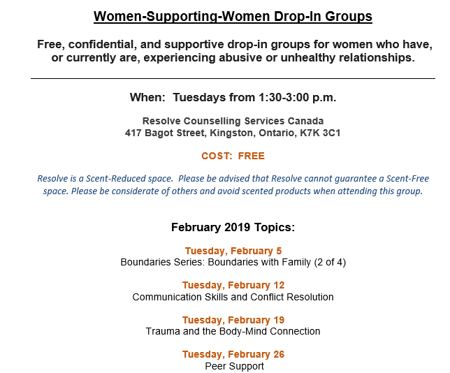 Women Supporting Women monthly schedule for February 2019
