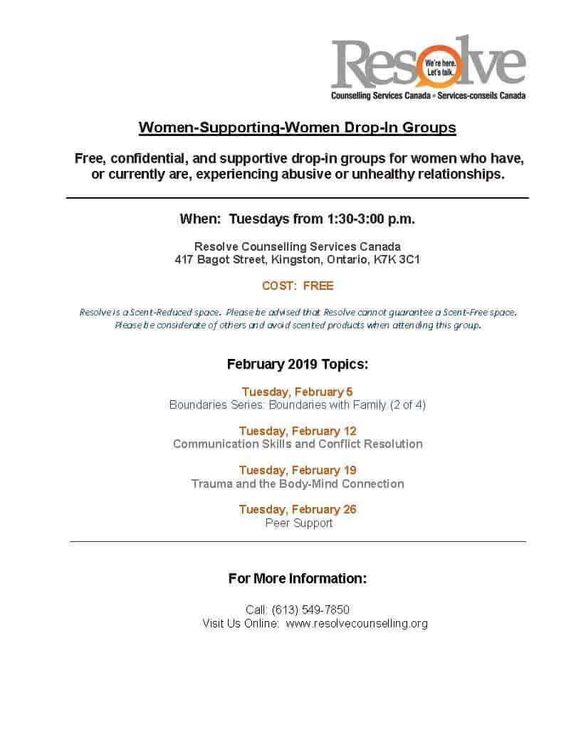 Women Supporting Women monthly schedule – February