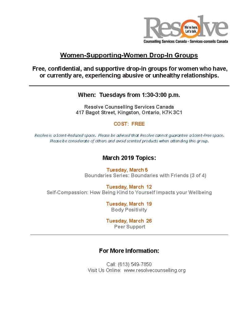 Women Supporting Women monthly schedule – March 2019