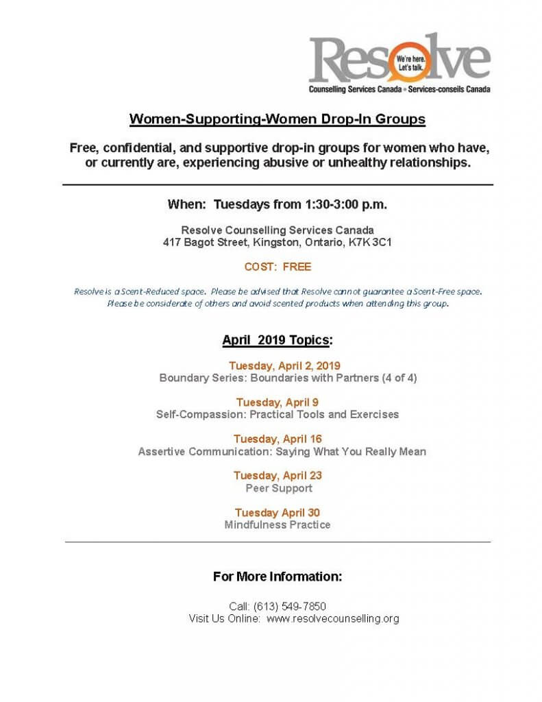 Women Supporting Women monthly schedule for April 2019