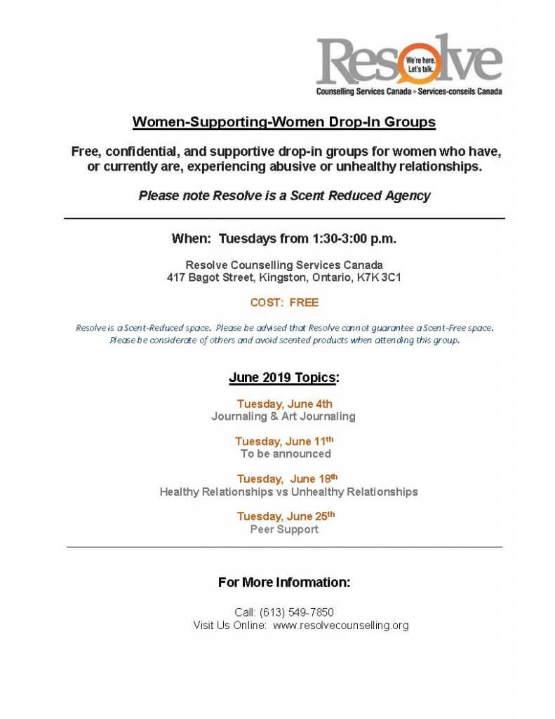 Women Supporting Women monthly schedule for May 2019