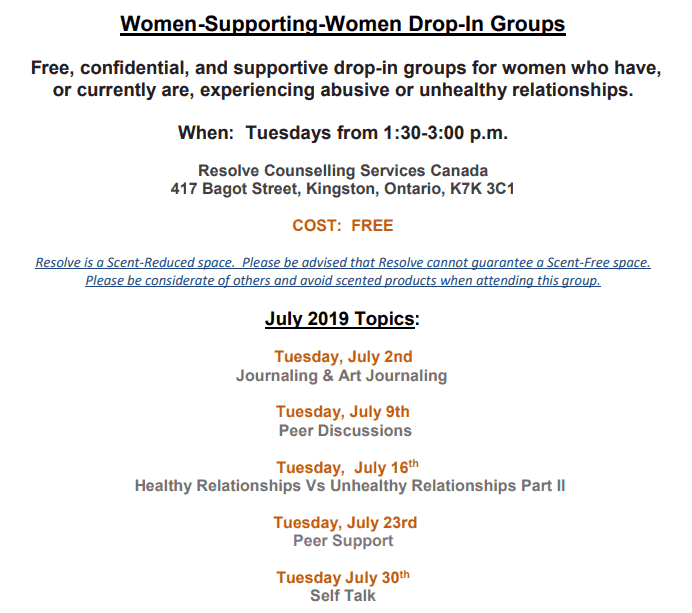 Women Supporting Women monthly schedule for July 2019