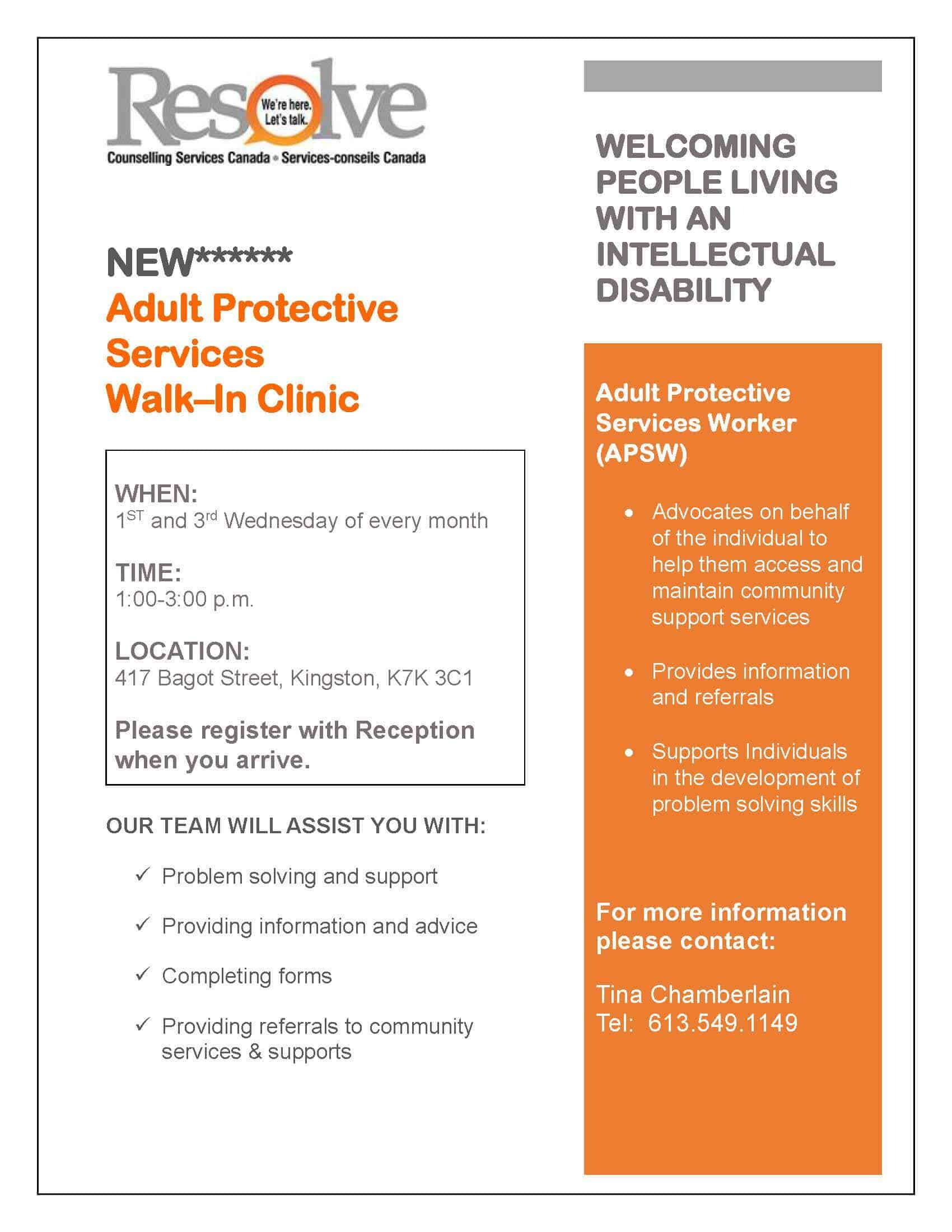 Adult Protective Services Walk–In Clinic