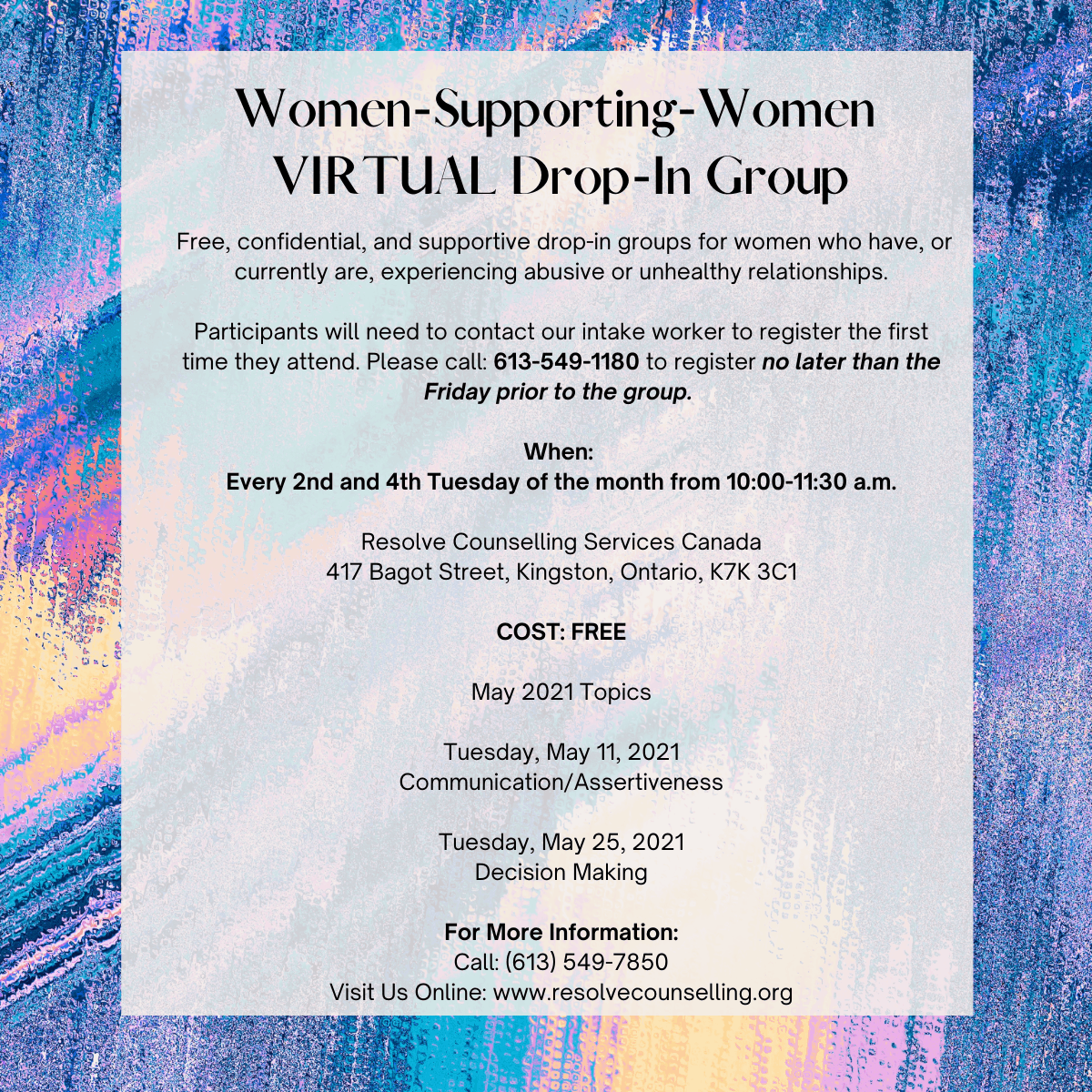 Women-Supporting-Women VIRTUAL Drop-In Group - May